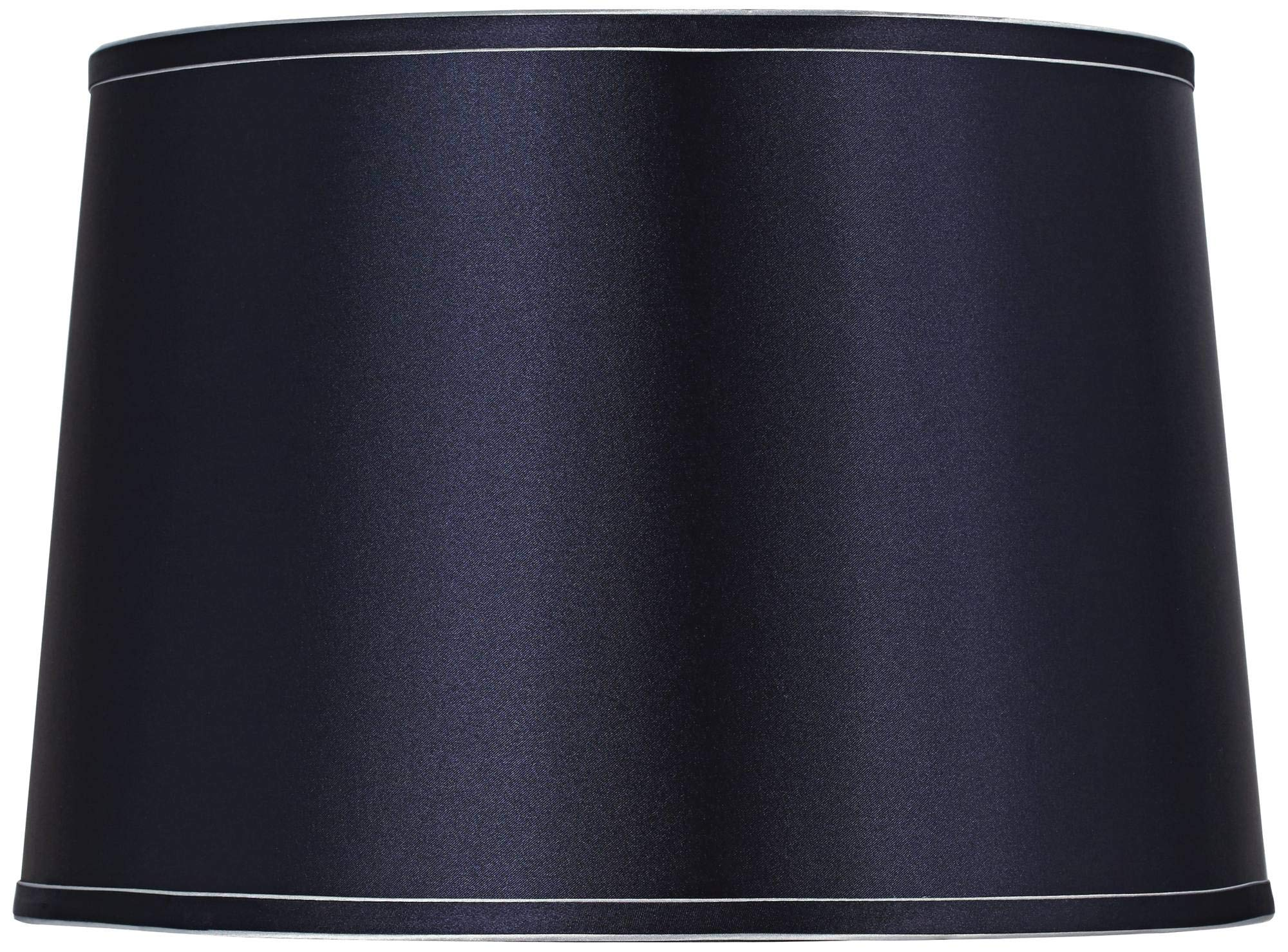 """Sydnee Navy with Silver Trim Medium Drum Lamp Shade 14"""" Top x 16"""" Bottom x 11"""" Slant (Spider) Replacement with Harp and Fi..."""