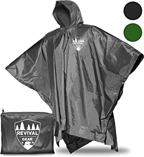 Reusable Rain Ponchos: Universal FIT & Extremely Durable. Draw-String Hood and Zipper Collar. Comes in Compact Storage Bag. Breathable by Opening Flaps Under Arms. Use as Ground Mat or Tarp