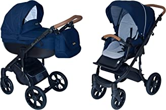 ROAN BASS Soft Stroller 2-in-1 with Bassinet for Baby, Toddler's Five Point Safety Reversible Seat, Swivel Air-Inflated Wheels, Unique Shock Absorbing System and Great Storage Basket (Navy Blue)