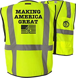 Making America Great - Class 2 ANSI Reflective Hi-Vis 6 Pocket Zipper Closure High Visibility Custom Printed Safety Vest (SM-MD)