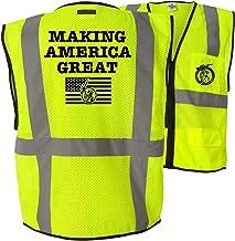 Making America Great - Class 2 ANSI Reflective Hi-Vis 6 Pocket Zipper Closure High Visibility Custom Printed Safety Vest (LG-XL)