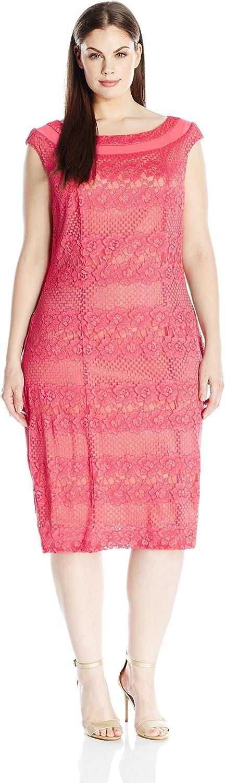 Gabby Skye Womens Plus Size Cap Sleeve Round Neck Midi Lace Sheath Dress Dress