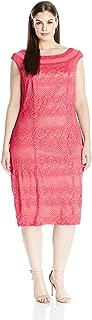 Gabby Skye Women's Plus Size Full Figured Cap Sleeved Crochet Lace Sheath Dress