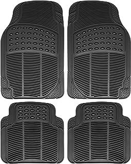 OxGord Ridged All-Weather Rubber Floor-Mat Set - Waterproof Protector for Spills, Dog, Pets, Car, SUV, Minivan, Truck - 4-Piece Set, Black
