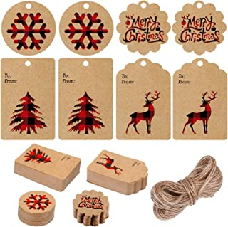 200 Pieces Christmas Paper Tags Kraft Gift Tags Hang Labels with Red and Black Plaid Snowflake Christmas Tree Elk Patterns and 66 Feet Twine Rope for Christmas