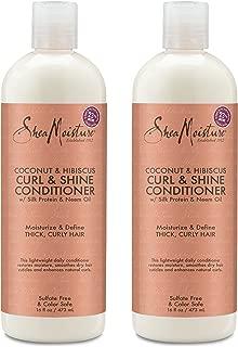 Shea Moisture Coconut & Hibiscus Curl & Shine Conditioner | 16 fl. oz. (2 Pack)