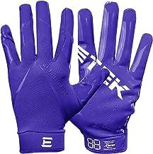 Men's Football Gloves - EliteTek RG-14 Super Tight Fitting Football Gloves - Easy Slip On Design No Wrist Strap for Men