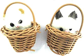 Aayam Design and Solutions Cats in Basket Fridge Magnet, 6x4.5x4.5cm(Brown) - Set of 2