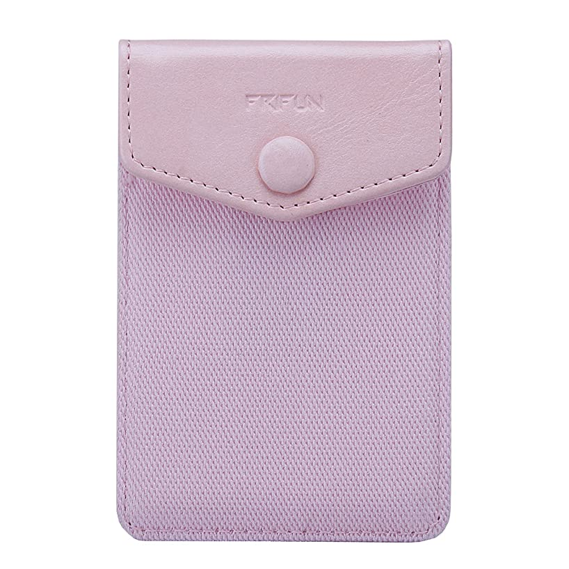 FRIFUN Cell Phone Wallet Ultra-slim Self Adhesive Credit Card Holder Stick on Wallet Cell Phone Leather Wallet For Smartphones Sleeve Covers Credit Cards and Cash (Pink)