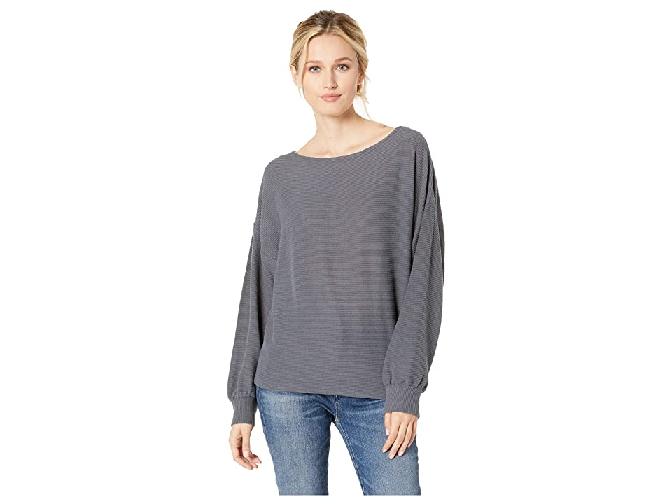 Lucky Brand Ribbed Dolman Pullover Top (Charcoal) Women's Clothing, Gray