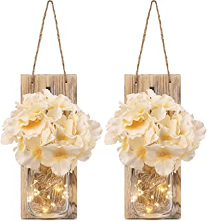GBtroo Rustic Mason Jar Sconces for Home Decor 6 Hours Timer Decorative Flower Wall Decor with...