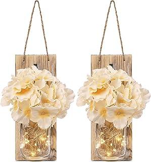 GBtroo Rustic Mason Jar Sconces for Home Decor 6 Hours Timer Decorative Flower Wall Decor..