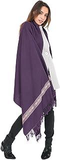 likemary Merino Wool Wrap Shawl & Travel Blanket Scarf Oversize Fairtrade Pashmina Handwoven Takhi 100 x 200cm