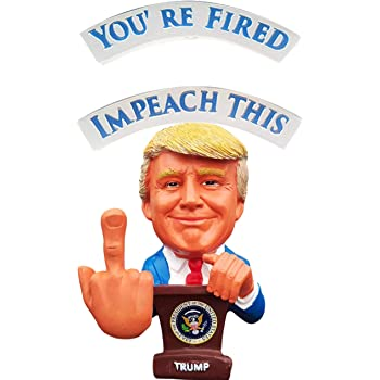 """Donald Trump Bobblehead – Bobbling Middle Finger For Your Liberal & Democrat Friends – President Trump Reversible Political Gag Gift """"Impeach This"""" & """"You're Fired"""" On Each Side"""
