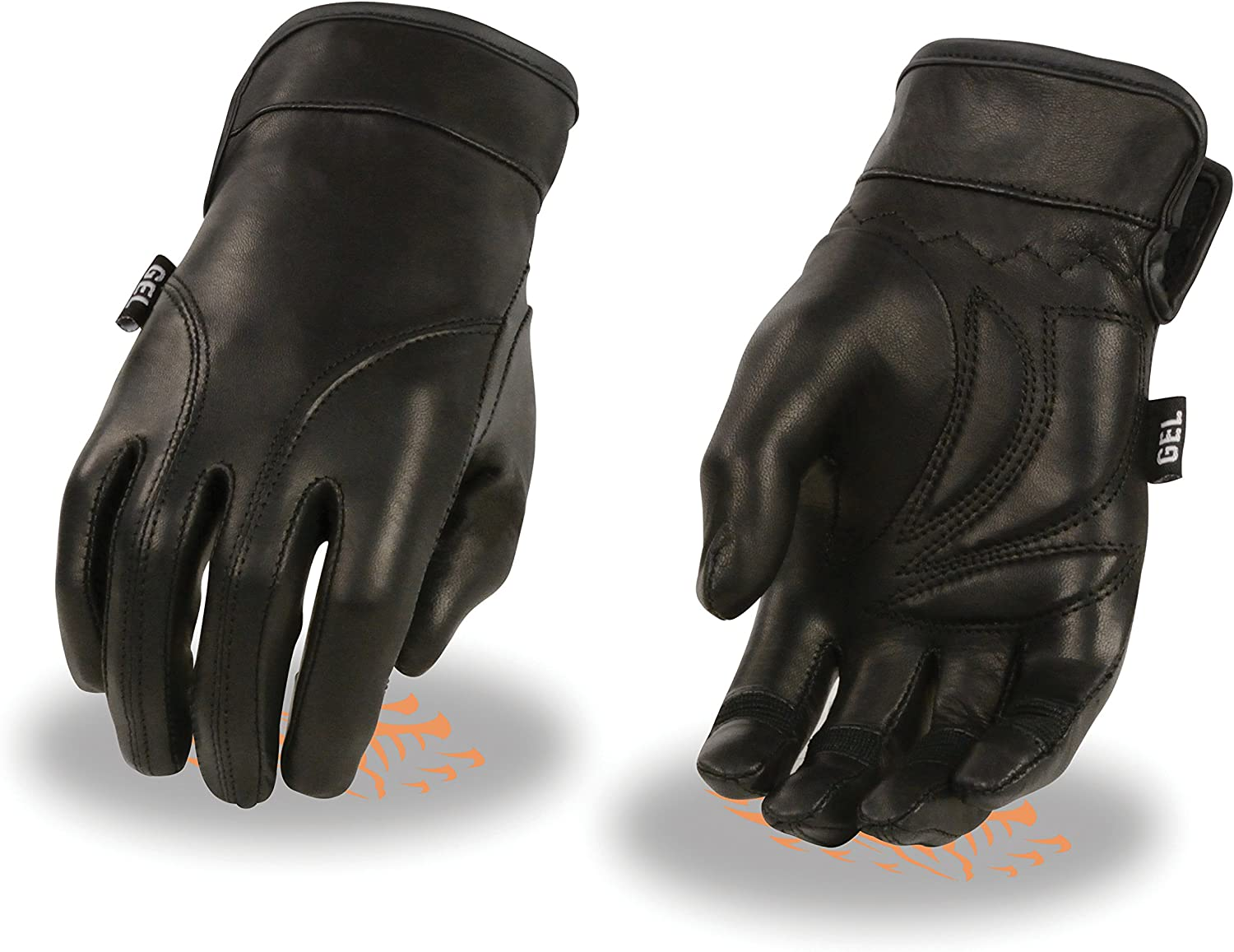 Ladies Leather Light Lined Gloves w/ Sleeve Cuff & Gel Palm