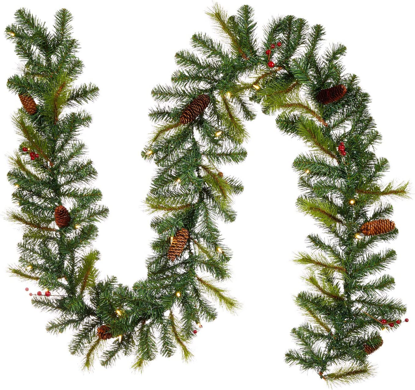 NOMA Max 41% OFF Pre-lit Nashville-Davidson Mall 9-Ft LED Berry Christmas Ba Pinecone Garland with