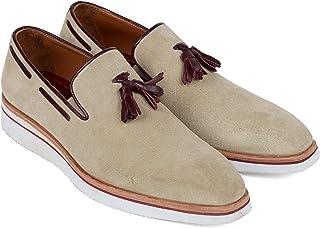 Paul Parkman Men's Smart Casual Tassel Loafers Beige Suede (ID#181-BEI-SD)