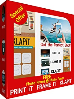 KLAPiT 4pc Pack Photo Frame offer pack - White Frame that includes 4 picture hanging strips and a photo frame of 10cm X 15...