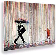Giallobus - Schilderij - Banksy - Regen van kleuren - Tela canvas - 100x70