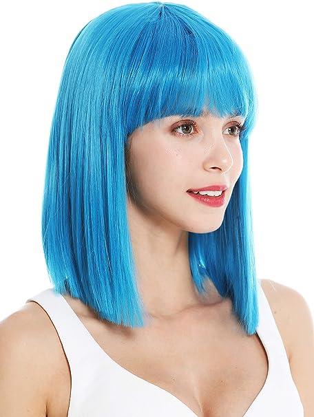 WIG ME UP- VK-10-T4440 peluca de mujer pelo corto liso al hombro Bob largo flequillo Cleopatra color azul claro