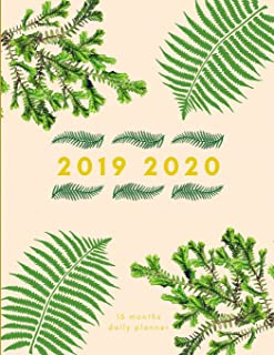 2019 2020 15 Months Fern Leaves Daily Planner: Academic Hourly Organizer In 15 Minute Interval; Appointment Calendar With Address Book, Password Log & ... Diary With Quotes; From Jun 2019 To Aug 2020