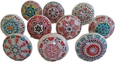 Mix van keramische knoppen in vintage-look, 10 stuks, bloemendesign, handgrepen voor deuren, kasten, laden.