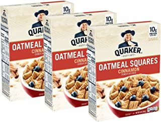 Quaker Oatmeal Squares Breakfast Cereal, Cinnamon, (3 Pack)
