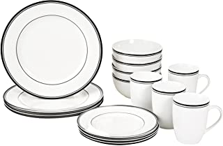 AmazonBasics 16-Piece Cafe Stripe Kitchen Dinnerware Set, Plates, Bowls, Mugs, Service for 4, Black