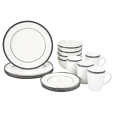 AmazonBasics 16-Piece Cafe Stripe Kitchen Dinnerware Set, Plates, Bowls, Mugs, Service for 4, Black