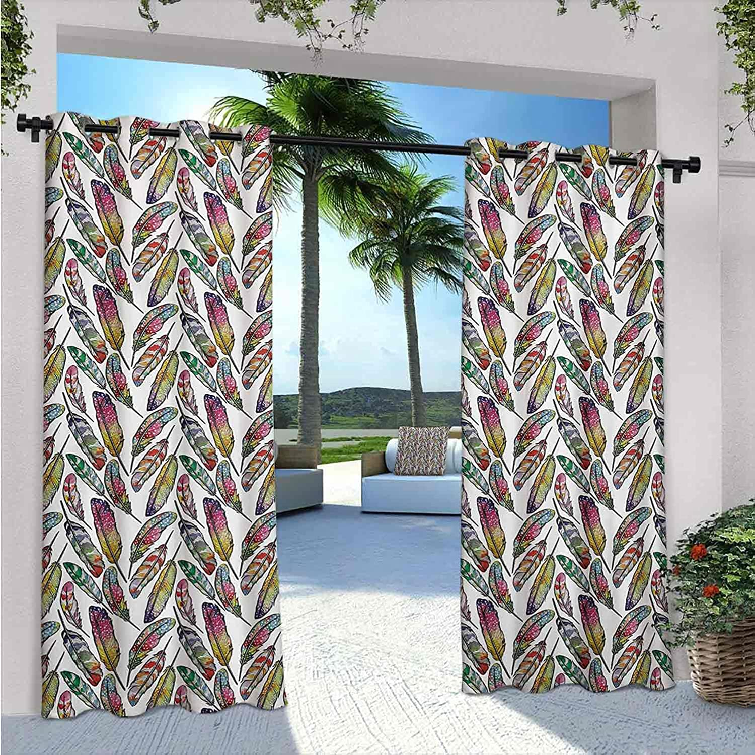 Feather Waterproof Gazebo Curtains Contrast Boho Feathers Vivid Reservation We OFFer at cheap prices