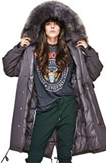 Women's Winter Real Raccoon Fur Collar Hooded Parka 90% White Duck Down Jacket Warm Long Down Coat
