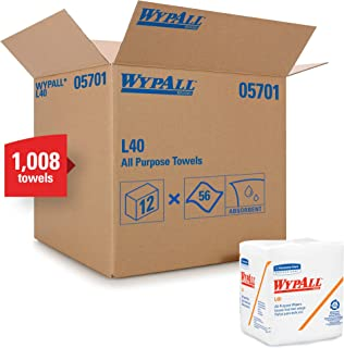 WypAll L40 Disposable Cleaning and Drying Towels (05701), Limited Use Towels, White,18 Packs per Case, 56 Sheets per Pack, 1,008 Sheets Total
