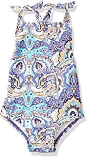 Seafolly Girls 15659T-145 High Neck Tie Shoulder Tank One Piece Swimsuit One Piece Swimsuit - Blue