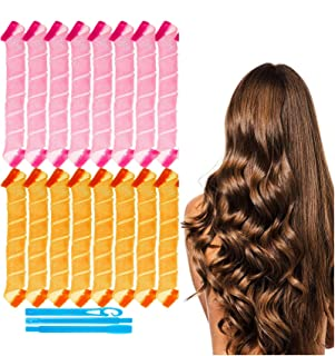 Seedware - 14 pcs Hair Curlers Spiral Curls No Heat Wave Hair Curlers Styling Kit Styling Hooks for Most Kinds of Hairstyl...