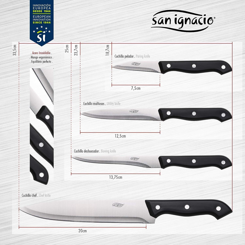 Bergner PK1528 Set 16pcs: 3 sartenes 20//22//26 Aluminio prensado 3 cazos//cacerolas 16//18//20 con 2 Mangos Click/&Cook 4 Cuchillos 4 Utensilios de Cocina