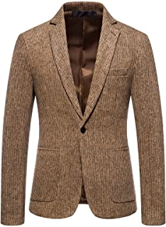 FDGH Men's Classic Grey Tweed Herringbone Blazer Retro Smart Casual Tailored Fit Jacket,Suitable for Work or Party Coat