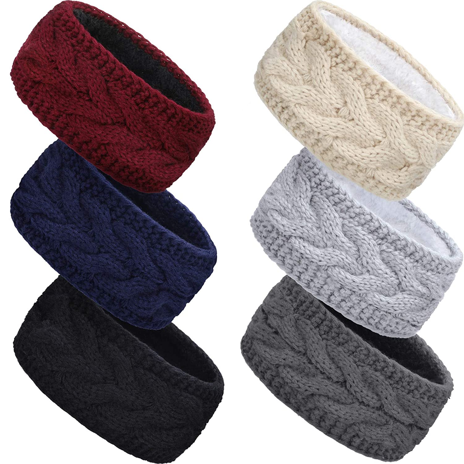6 Pieces Winter Cable Knit Headband Fleece Lined Winter Ear Warmer Headband Wrap for Christmas Valentine's Day Giving (Classic Colors)