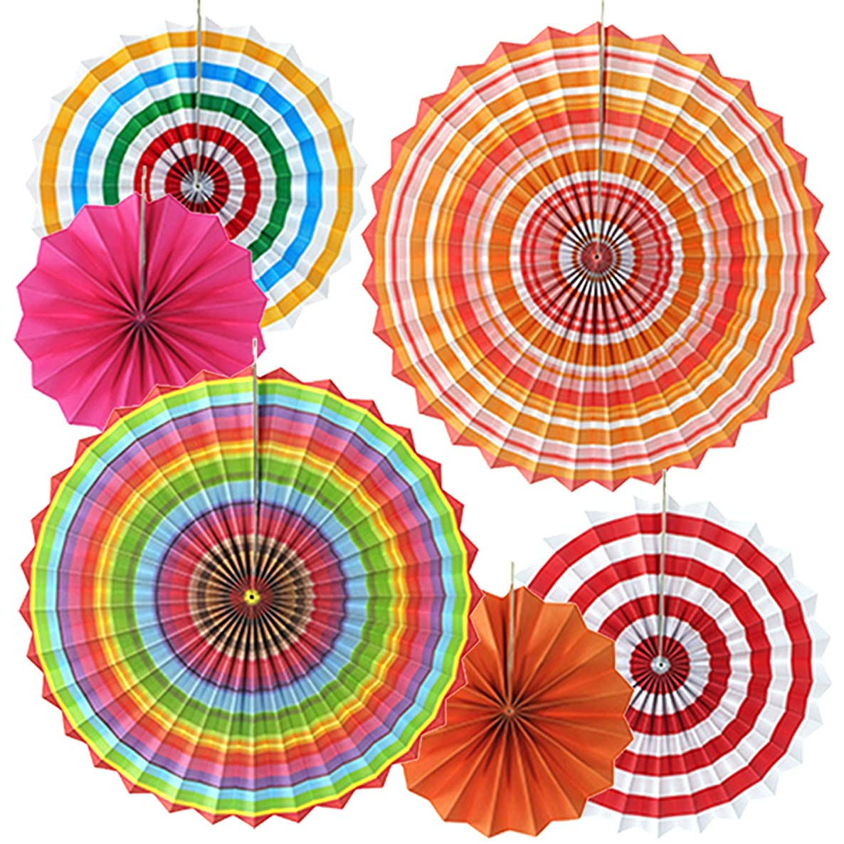 OMyTea Hanging Paper Fans Decorations Kit for Wall - Set of 6 Circle Rosettes Tissue Paper Fans Bulk for Party Favors, Wedding, Birthday, Festival, Christmas, Events, Home Decor (Rainbow 2)