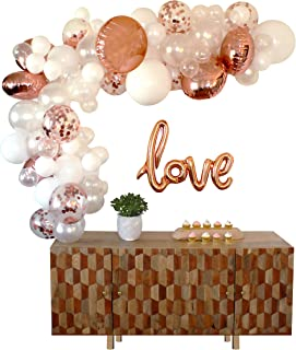 Party Swag Balloon Arch & Garland Kit   80 Rose Gold, Confetti, White & Clear Balloons   LOVE Balloon   Hand Pump   Glue Dots   16' Tape   Bridal, Baby Shower, Birthday, Wedding Party Decorations