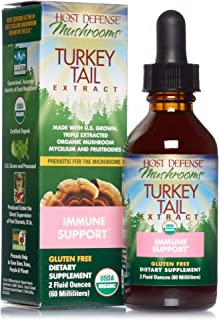 Host Defense, Turkey Tail Extract, Natural Immune System and Digestive Support, Daily Mushroom Mycelium Supplement, Organi...