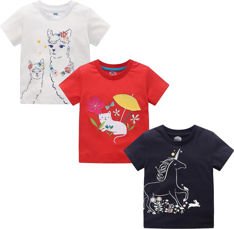 MSSMART Toddler Girls Summer T-Shirt Short Sleeve Top Tee 3-Pack Size 18M-7T
