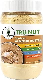 Tru-Nut Powdered Almond Butter (15 Servings, 6.5oz Jar) Good Source of Protein - Keto, Vegan, Gluten Free, Non-GMO, California Almond Protein Powder