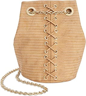INC Womens Cheebee Faux Leather Grommet Bucket Handbag