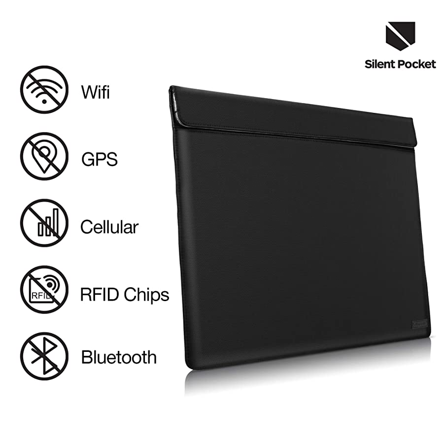 Silent Pocket Waterproof Nylon Faraday Bag, Signal Blocking Device Sleeve for 13 inch and 15 inch Laptops and Tablets - Instant Protection (13 inch, Black)