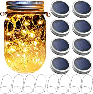 Mason Jar Solar Lantern Lights, 8 Pack 30 LED Bulbs Fairy Star Firefly Solar Lids Jar Lights,8 Hangers Included(No Jars),for Patio Garden Mason Jar Lanterns Table Wedding Decorations Lights