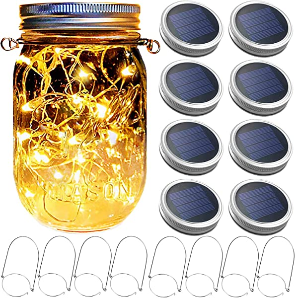 Mason Jar Solar Lantern Lights 8 Pack 30 LED Bulbs Fairy Star Firefly Solar Lids Jar Lights 8 Hangers Included No Jars For Patio Garden Mason Jar Lanterns Table Wedding Decorations Lights