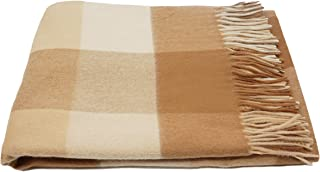 State Cashmere Plaid 100% Pure Cashmere Throw Blanket Multicolor Pattern Oversized Wrap with Fringes (Light Brown/Camel/Beige)