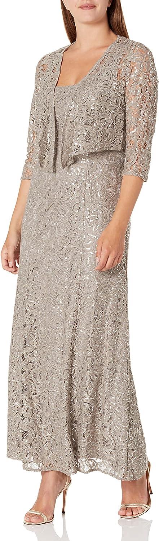 Alex Evenings Women's Long Lace Jacket Dress
