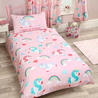 I Believe in Unicorns 2 Piece UK Single/US Twin Sheet Set, 1 x Double Sided Sheet and 1 x Pillowcase