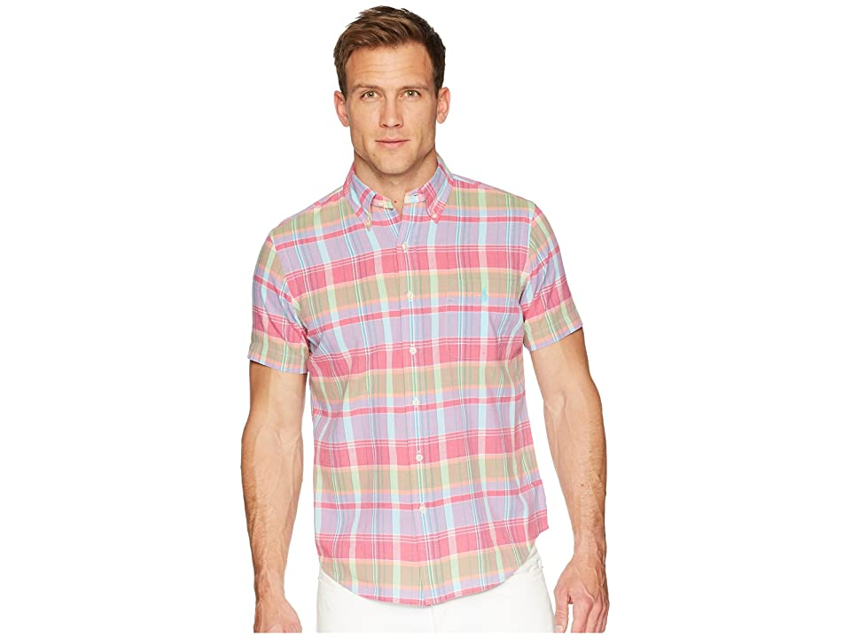 Polo Ralph Lauren Madras Short Sleeve Sport Shirt (Magenta/Blue) Men